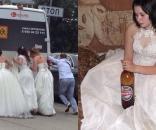 Imagens postadas nas redes sociais mostram a maneira peculiar de como são os casamentos na Rússia