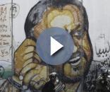 Graffito di Marwan Barghouti, leader di Fatah
