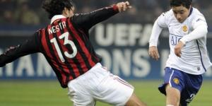 Nesta in action during a Champions League clash with Manchester Utd