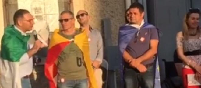 Solarino, ai comizi rionali Michele Gianni gira con le bandiere sulle spalle