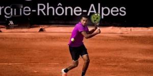 Nick Kyrgios preparing to hit a shot at this week's ATP Lyon. Photo by Facebook/@Open Parc Auvergne-Rhône-Alpes