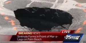 Screen cap of sinkhole in front of Mar-a-Lago resort. Photo via WPBF 25 News, YouTube.