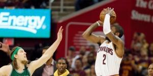 Kyrie Irving grabbing a bucket over Celtics Kelly Olynyk (Via Twitter @CavaliersViews)