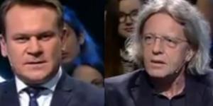 """Posłowie Dominik Tarczyński i Krzysztof Mieszkowski w programie """"Bez Retuszu"""" (źródło: twitter.com)"""