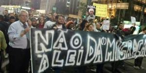 Manifestação em São Paulo contra a Lei da Migração