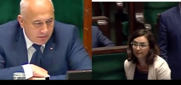 Joachim Brudziński oraz Kamila Gasiuk-Pihowicz (źródło: sejm.gov.pl).