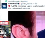 """Photomontage : La revue Démocratie (Bayrougate) et la page Twitter de l'élu FN répercutant que Macron """"aurait"""" disposé d'une oreillette..."""