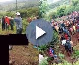 Micro-ônibus mergulhou em um barranco e matou cerca de 35 pessoas. Fotos: Facebook