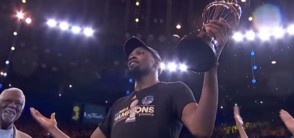 The Warriors win it all and Kevin Durant is named Finals MVP - YouTube/G4NBAVideosHD