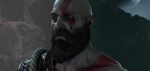 """""""God of War 4"""" features a fully bearded Kratos, who now has a son (via YouTube/PlayStation)"""