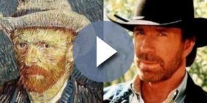 O ator Chuck Norris e o pintor Vincent Van Gogh são bastante parecidos. Foto: Reprodução/Minilua.
