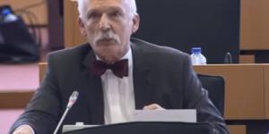 Europarlamentarzysta Janusz Korwin-Mikke (źródło: youtube.com).