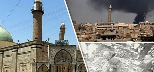 ISIS a distrus Marea Moschee al-Nuri din Mosul, locul unde a fost proclamat Statul Islamic - Foto: Daily Express (Reuters/Getty Images)