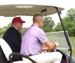 Trump has been filmed several times driving a golf cart on greens. Photo via CNN, YouTube.