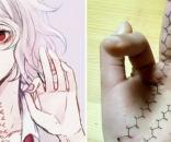 Nova moda de mutilação online na China foi inspirada em personagem da HQ japonesa Tokyo Ghoul (Crédito: Twitter/China Facts)