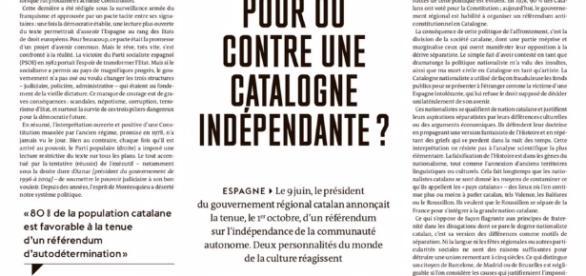 Página de Le Monde con los dos artículos de Lluís Llach y Albert Boadella sobre la independencia catalana