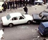 Un'immagine di via Fani subito dopo la strage e il rapimento di Aldo Moro il 16 marzo 1978