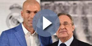 Zidane y Florentino Pérez durante su presentación