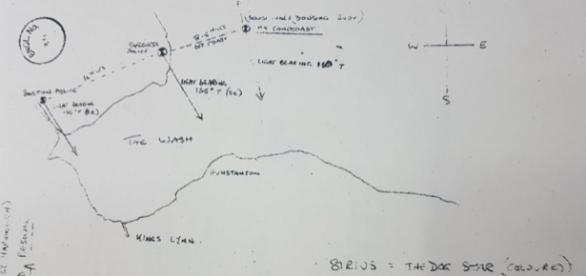 Este esquema, parte inegrante de documentos oficiais, ilustra o avistamento de ONVI em Skegness