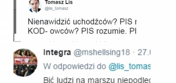 Tomasz Lis w starciu z internautami (źródło: twitter.com).