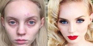 Modelo mostrando o antes e depois de ser maquiada