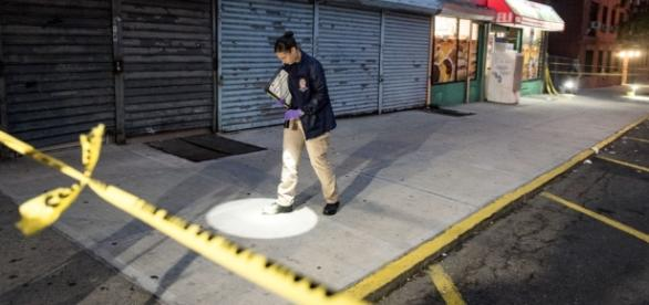 The New York Police Department is investigating the crime scene.