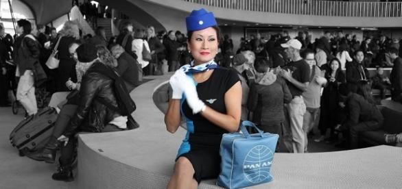 Pan Am stewardess model in the TWA Flight Center at JFK airport   Rich Gallo via Wikimedia Commons
