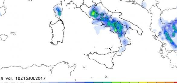 I forti temporali attesi al sud nelle prossime ore