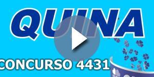 Sorteio da Quina, pelo concurso 4431, confira o resultado