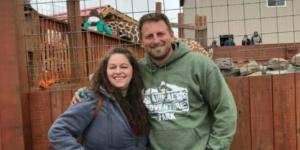 Kelly Bain strikes a pose with Jordan Patch, the owner of Animal Adventure Park. [Image credit: Kelly Bain]