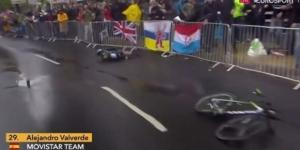 La caduta di Alejandro Valverde al Tour de France
