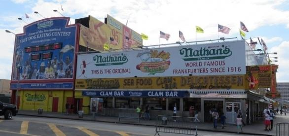 The annual Nathan's Coney Island Hot Dog eating contest is back! [Image via Wiki Commons}