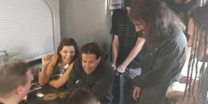 Scott Stapp and wife Jaclyn, and the rest of Art Of Anarchy have some fun with mentalist Joel Givens along the road. Joel Givens/Facebook