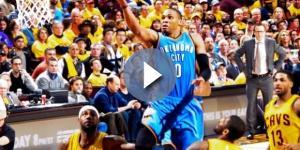 Russell Westbrook glides by LeBron James - Erik Drost via Wikmedia Commons