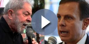 Ex-presidente Lula demonstrou preocupação com a popularidade do prefeito João Doria (à dir.)