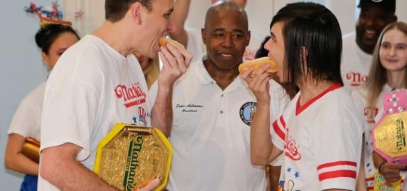 Joey Chestnut wins Coney Island annual hot dog contest in Brooklyn.