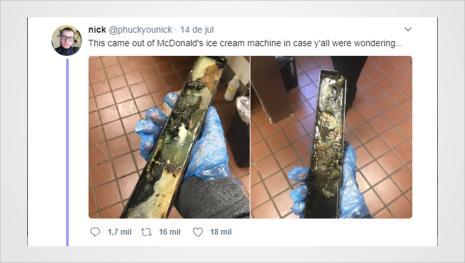 Jovem é demitido do McDonald's ao mostrar foto espantosa da máquina de sorvete